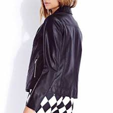 Simple Black Motorcycle Jacket For Women Handsome Leather Jacket