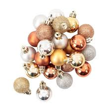 mini plastic ornament set metallic caramel silver