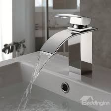 single handle hole finish chrome waterfall bathroom sink faucet