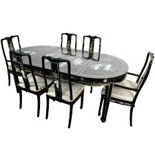 Oriental Dining Room Chairs Mother Of Pearl Table W  Chairs  X - Black lacquer dining room set