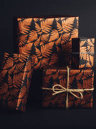 copper wrapping paper fern print