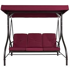 amazon com belleze 3 seat patio swing bench converting bed with
