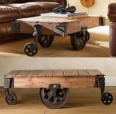 Vintage Coffee Table With Wheels Reclaimed Factory Cart Table From Restoration Hardware Coffee