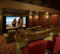 Projector Media Room - media room ideas home theater traditional with red and gold room