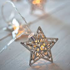 Battery Operated Fairy Lights by Christmas Star Light 10 Silver Star Battery Operated Decoration