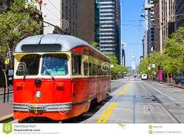 San Francisco Tram Map by San Francisco Cable Car Tram In Market Street California Stock