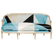 Vintage Curved Sofa by 19th Century Louis Xvi Style Miles Redd Cubist Silk Sofa From A