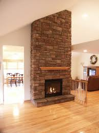 interior beautiful stone gas fireplace design with laminated