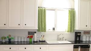 casual kitchen window ideas used green curtain color closed white