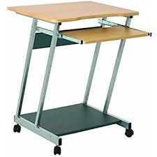 Computer Desk With Wheels Office Beech And Steel Computer Pc Desk Table Trolley With Movable