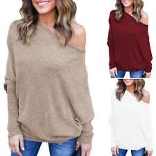 oversized shoulder sweater us womens the shoulder chunky knit jumper oversized