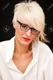 short white hair beautiful woman with white man s shirt glasses and short white