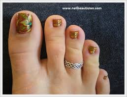 nail beautician winter toe nail designs