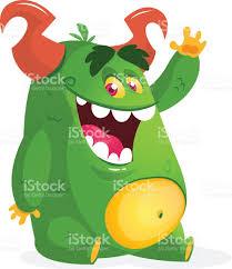 cartoon green fat monster vector character for halloween stock