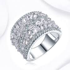 thick wedding bands trendy random fashion baguette setting cubic zirconia thick