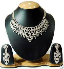 big necklace images Stunning simulated diamond big necklace long earrings gleam jewels jpg