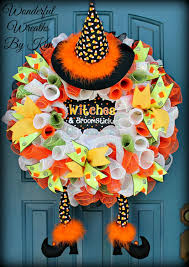 Halloween Mesh Wreaths by Halloween Witch Wreath Candy Corn Witch Wreath Candy Corn