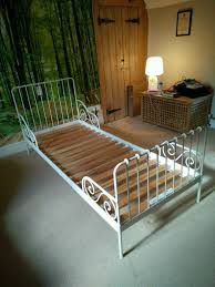 Ikea White Metal Bed Frame White Metal Bed Frame Ikea Minnen Extends Up To Size