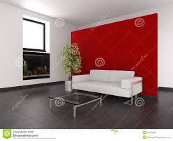 modern living room with red wall and aquarium stock photography
