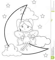 fairy on the moon coloring page stock illustration image 53848727