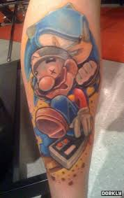 sonic vs mario tattoo on arm sleeve