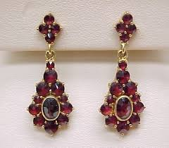 garnet earrings bohemian garnet ornate dangle earrings 18k gold dangles