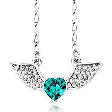 necklace with birthstones for angel wing necklace december birthstone blue topaz swarovski