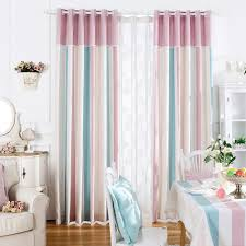 Pink Striped Curtains Soft Blackout Curtains Fabrics For Bedroom Chenille Home Window