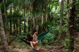 blue hammock set hiker hunger