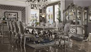 versailles dining room 66820 acme dining table versailles collection in antique platinum