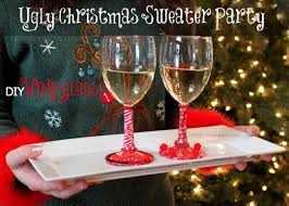 Images Of Ugly Christmas Sweater Parties - ugly christmas sweater party wine glasses oh my creative