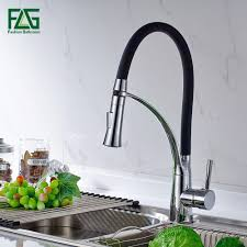 kitchen faucet black and chrome pull out 360 degree rotating