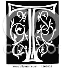 monogram letter t clipart of a vintage black and white monogram letter t royalty