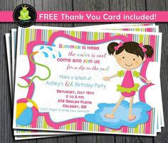 pool party invitation birthday printable birthday invitations