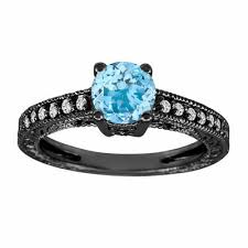 aquamarine and diamond ring aquamarine engagement ring vintage style 14k black gold 0 65 carat