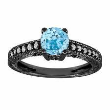 aquamarine diamond ring aquamarine engagement ring vintage style 14k black gold 0 65 carat