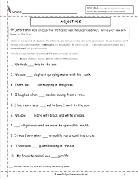 adjective worksheets for 2nd grade worksheets