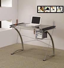 computer desk glass metal endearing clear glass stainless sawhorse style office desk glass