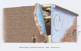 dramatic 3d murals coming to theatre in the round players building the mural on the north wall of the trp building will look like the brick has