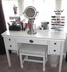 modern vintage vanity table with mirror and bench under window