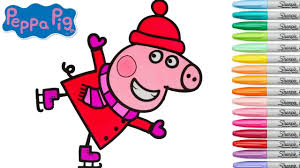 peppa pig coloring book games ice skating coloring pages rainbow