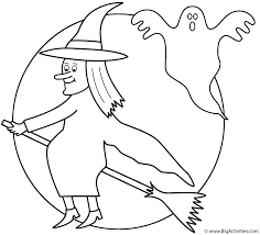 witch on broom with the moon and ghost coloring page halloween