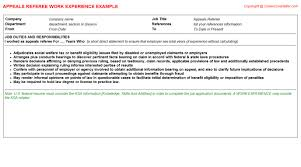 Ksa Resume Examples by Appeals Referee Cv Work Experience
