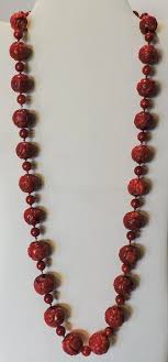 large bead necklace images Large red dark salmon vintage chinese coral dragon shou bead jpg