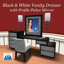 Vanity Dresser With Mirror Second Life Marketplace Black White Vanity Dresser W Profile
