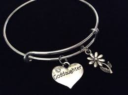 goddaughter charm bracelet god charm silver bangle goddaughter silver adjustable