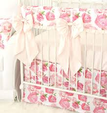 harlow u0027s watercolor rose bumperless crib bedding caden lane