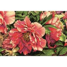 dimensions gold collection coral peonies counted cross stitch kit