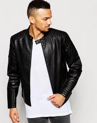 black leather biker jacket jack u0026 jones faux leather biker jacket with quilted sleeves in