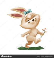 happy cute furry bunny with flower cartoon animal character